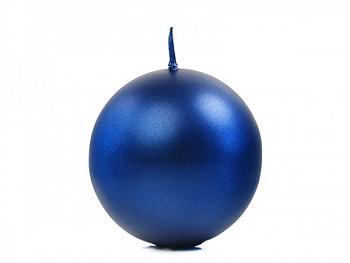 """Svíčka """"Koule"""" 60mm metalická  královská modrá"""