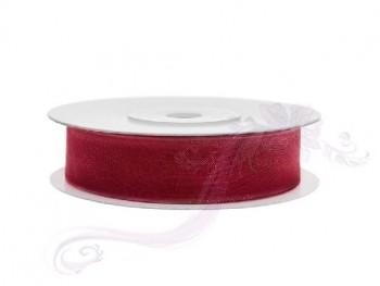 Stuha šifon červená, šířka 1,2 cm, návin 25 m