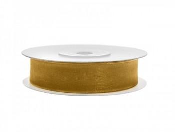Stuha šifon zlatá, šířka 1,2 cm, návin 25 m