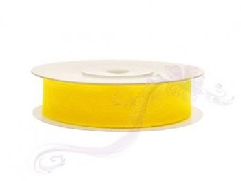 Stuha šifon žlutá, šířka 1,2 cm, návin 25 m