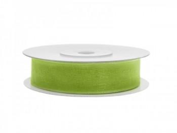 Stuha šifon zelené jablko, šířka 1,2 cm, návin 25 m