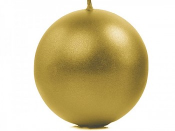 """Svíčka """"Koule"""" 100mm metalická zlatá"""