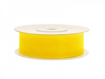 Stuha šifon žlutá, 19 mm / 25 m
