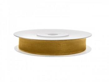 Stuha šifon zlatá, šířka 0,6 cm, návin 25 m