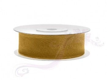 Stuha šifon zlatá, šířka 1,9 cm, návin 25 m