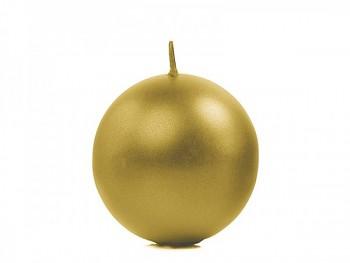 """Svíčka """"Koule"""" 60mm metalická  zlatá"""