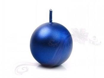"""Svíčka """"Koule"""" 45mm metalická královská modrá"""