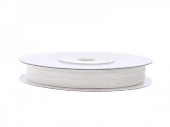Stuha šifon bílá, šířka 0,3 cm, návin 50 m