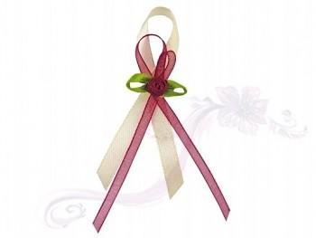 Svatební vývazky růžička s ivory stuhou