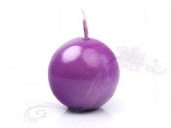 "Svíčka ""Koule"" 45mm metalická  purpurová"