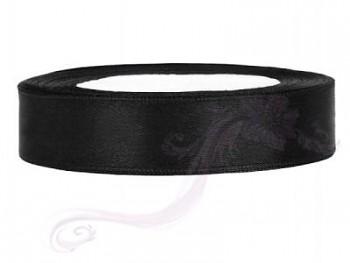 Saténová stuha černá, 12mm/25m