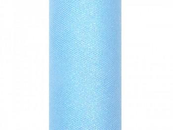 Tyl v roli světle modrý s lurexem 15 cm x 9 m - 731191159