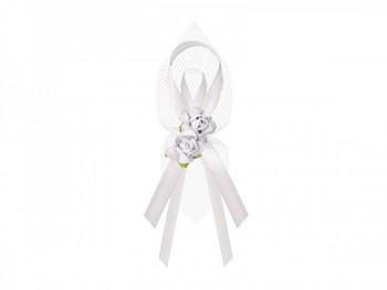Vývazky-tyl, růže 9cm, bílá