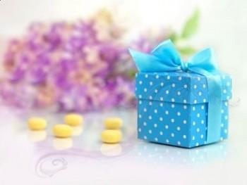 Krabička modrá  s víčkem a stužkou