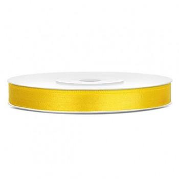 Saténová stuha žlutá, 6mm/25m