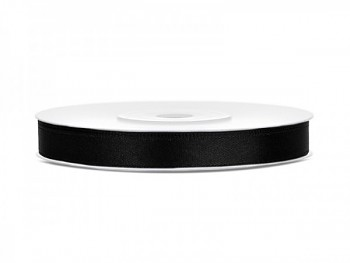Saténová stuha černá, 6mm/25m