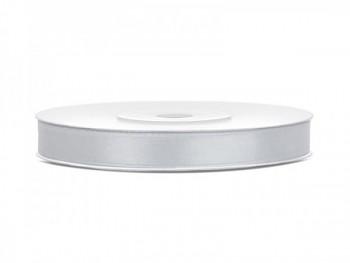 Saténová stuha, stříbrná, šířka 0,6 cm, návin 23 m