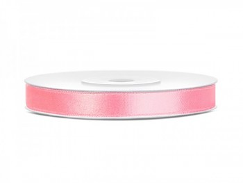 Saténová stuha světlá růžová, 6mm/25m
