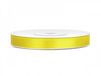 Saténová stuha žlutá 6mm/25m