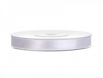 Saténová stuha bílá, 6mm/25m