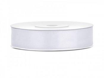 Saténová stuha bílá, šířka 12mm/25m