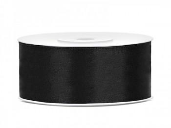 Saténová stuha černá, 25mm/25m