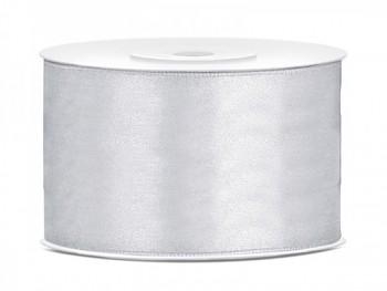 Saténová stuha, stříbrná, 38mm/25m