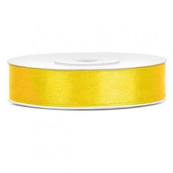 Saténová stuha žlutá, 12mm/25m