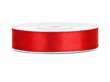 Saténová stuha  červená, 12mm/25m