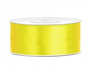 Saténová stuha  žlutá, 25mm/25m