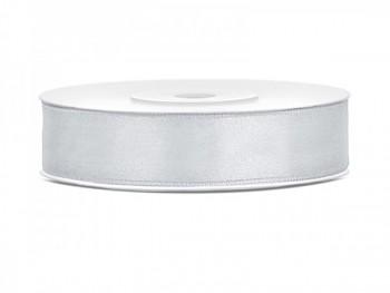 Saténová stuha, stříbrná, 12mm/25m