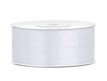 Saténová stuha bílá, 25mm/25m