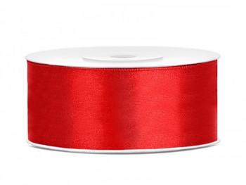 Saténová stuha  červená, 25mm/25m