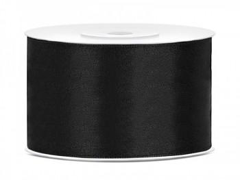 Saténová stuha černá, šířka 3,8 cm, návin 25 m