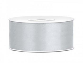 Saténová stuha, stříbrná, 25mm/25m