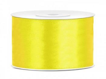 Saténová stuha  žlutá, 38mm/25m