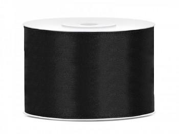 Saténová stuha černá, 50mm/25m