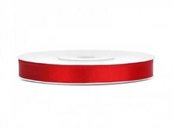 Saténová stuha červená, 6mm/25m