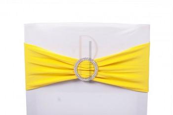 Šerpa na židle s ozdobnou sponou žlutá