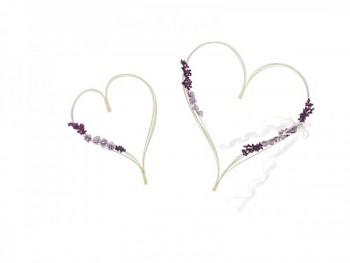 Ratanové srdce fialové kytičky