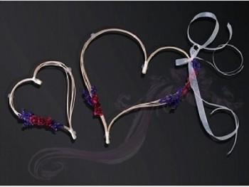 Ratanové srdce-bordó kytičky