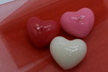 Plovoucí svíčka srdce - bílé