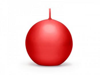 Svíčka koule 80mm,matná červená