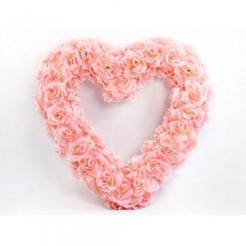 Ozdoba na auto srdce prázdné, 50cm, sv.růžové