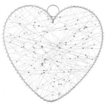 Velké bílé závěsné srdce s vlákny 731251802