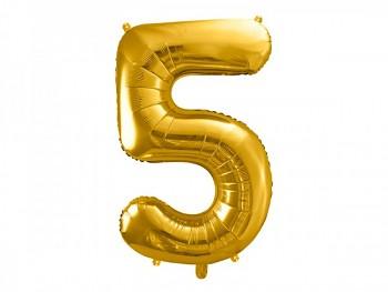 Foliový zlatý balónek číslice 5, 86 cm 731232819