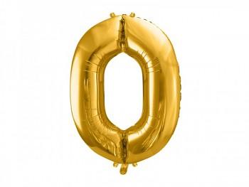 Foliový zlatý balónek číslo 0, 86 cm 731232814