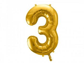 Foliový zlatý balónek číslice 3, 86 cm 731232817