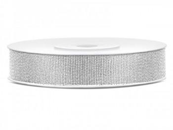 Stuha brokátová stříbrná, šířka 1 cm, návin 25 m 731232859