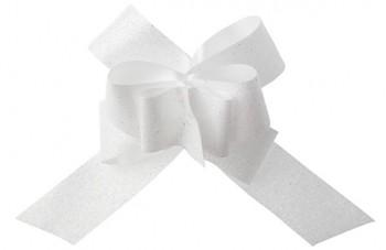 Glitrová stahovací mašle bílá, 30 mm  731234992